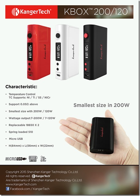 KBOX120 thumb255B2255D 2 - 期待の新製品:Kangertech KBOX 200/120W TC ModのPre-Sale(予約販売)開始(12/06追記)