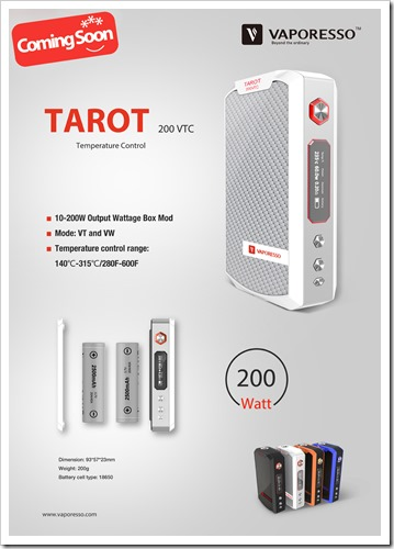 tarot vapor thumb255B2255D 2 - 【MOD】ちょい高級VAPE!VAPORESSOの200W VW/TC MOD「TAROT 200 VTC」近日登場!最高3Ωまで対応