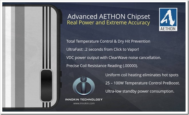 Innokin new AETHON Temperature Control Board. 1024x614255B5255D 2 - 【期待の新製品】Innokinから新たな温度管理Mod「Innokin AETHON TC mod」100Wまで対応した26650 MODか?