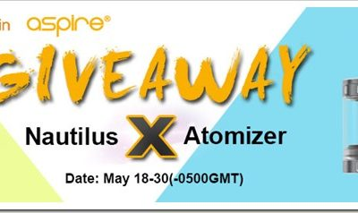 nautilus x giveaway255B5255D 2 400x238 - 【GIVEAWAY】HealthCabinでAspire Nautilus Xアトマイザー15セットプレゼント中