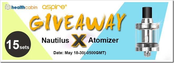 nautilus x giveaway255B5255D 2 - 【GIVEAWAY】HealthCabinでAspire Nautilus Xアトマイザー15セットプレゼント中