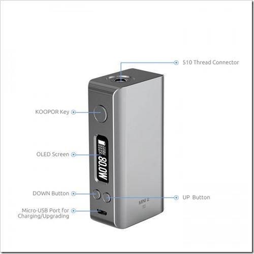smok koopor mini 2 80w tc box mod 3255B6255D 2 - 【MOD】 Smok Koopor Mini 2 80W TC Box Mod-2600mAh内蔵バッテリー、DNA75搭載SMY SDNA75Wが5688円~【DNA基板】
