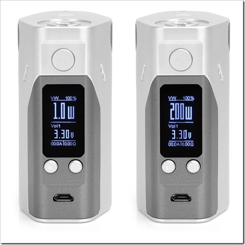 authentic wismec reuleaux rx200s tc vw variable wattage box mod silver grey stainless steel 1200w 3 x 18650255B5255D 2 - 【MOD】3本バッテリーと液晶巨大化の「Reuleaux Wismec RX200S」レビュー!【0.96インチ大型液晶画面】