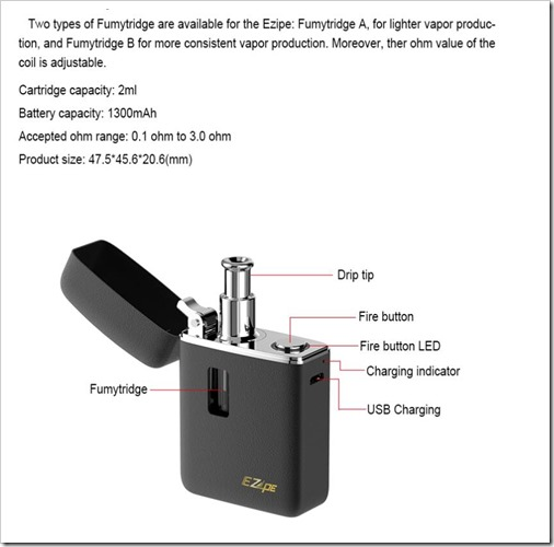UEQyoR1255B5255D 2 - 【AIO】ZIPPOライターサイズの小型MOD「Fumytech Ezipe Vape Kit 2ml With Fumy Cartridge A & B 1300mahバッテリーキット」