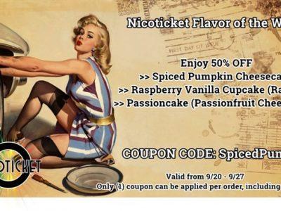 8e817147 b44c 4ab9 ac6d 51eb3c47688e thumb255B5255D 2 400x300 - 【リキッド】Nicoticketの「Spiced Pumpkin Cheesecake」「Raspberry Vanilla Cupcake」「Passioncake」がなんと50%オフ!【FOTW09/21-09/27】