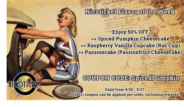 8e817147 b44c 4ab9 ac6d 51eb3c47688e thumb255B5255D 2 - 【リキッド】Nicoticketの「Spiced Pumpkin Cheesecake」「Raspberry Vanilla Cupcake」「Passioncake」がなんと50%オフ!【FOTW09/21-09/27】