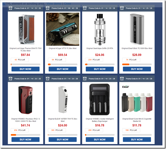 Promotion255B5255D 2 - 【セール】GearBestで電子タバコ関係が全品12%オフ&フラッシュセール9月12日~16日「DNA75やEleaf iCareなど中華MODが安い!」
