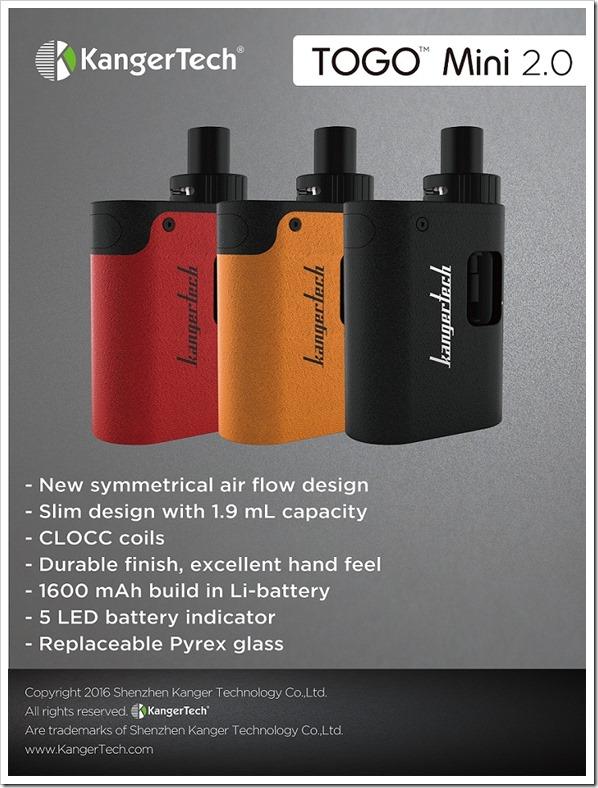 togo2520mini thumb255B3255D 2 - 【新製品】Kangertech TOGO Mini 2.0 オールインワンキットの登場【欧州規制対応モデル?】