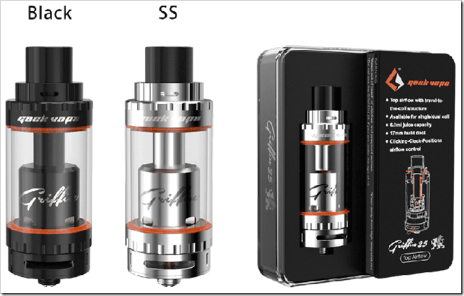 geekvape griffin 25 rta top airflow colors thumb255B2255D 2 - 【RTA】Griffin 25 RTA Tank Top Airflow Versionレビュー!ドローをトコトン軽くした爆煙ユーザー垂涎のRTAの巻