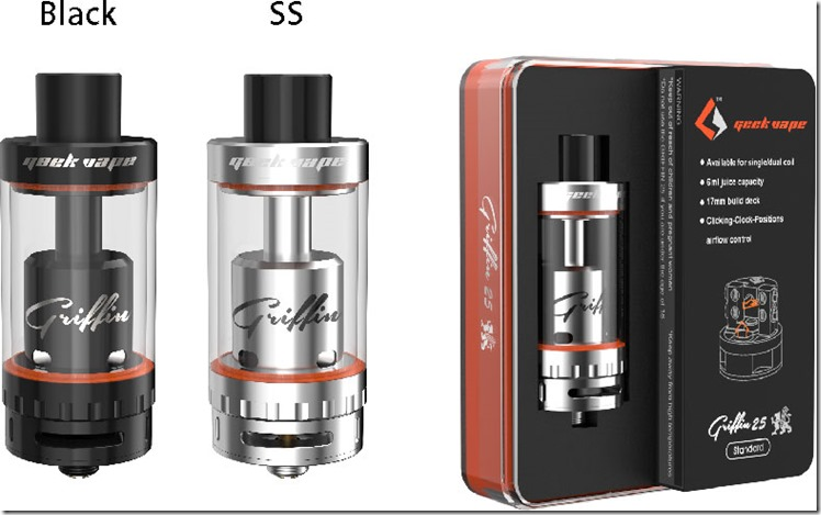 griffin 25 RTA standard version thum 2 - 【RTA】GeekVape Griffin 25 Top Airflowレビュー。ミストもタンクも最大級!【爆煙】