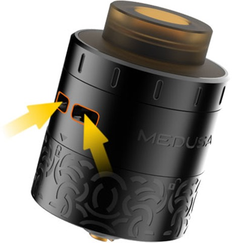 geekvape medusa rdta airflow thumb255B2255D 2 - 【RDTA】「Geekvape Medusa RDTA」レビュー。メデゥーサRDTA!漆黒の高級VIPライクな爆煙フレイバードリッパー!【電子タバコ/爆煙/アトマイザー】