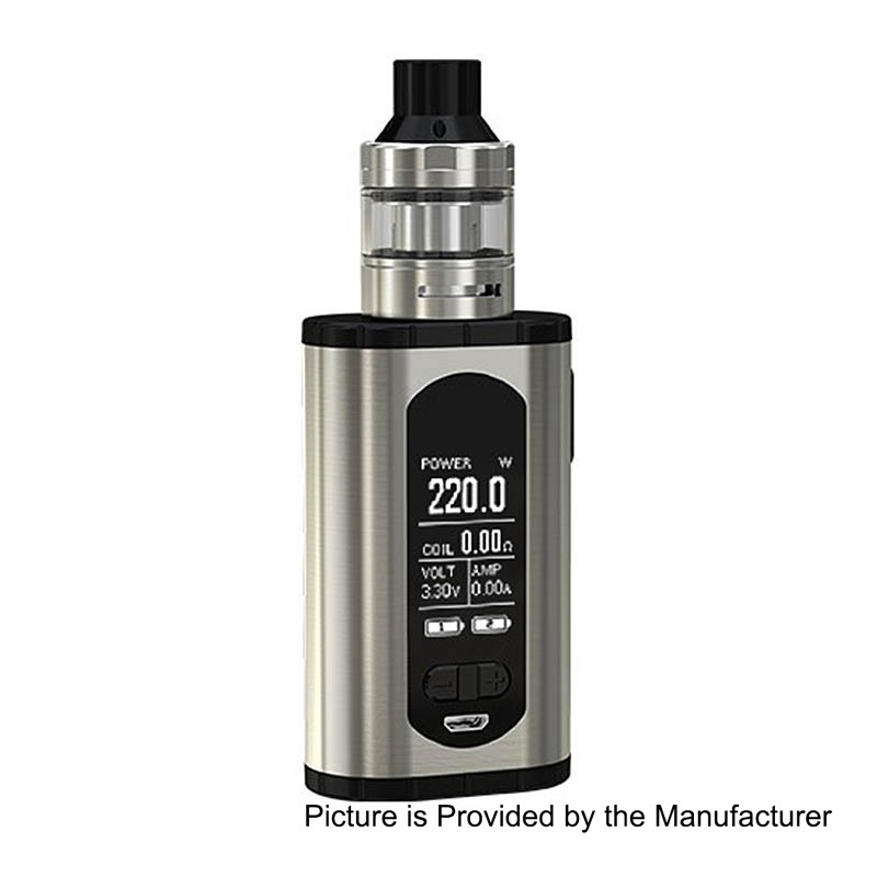 Authentic Eleaf Invoke 220W Silver TC VW Mod + ELLO T Tank Kit