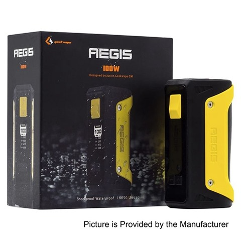 authentic geekvape aegis 100w water proof tc vw variable wattage box mod yellow zinc alloy 5100w 1 x 18650 266502B252812529 thumb255B2255D - 【海外】「Yosta Igvi RDA」「Smokjoy Mushroom Cloud RDA」「Smokjoy Kaiser RTA」「GeekVape AEGIS 100W防水MOD」「IQOSケース」ほか
