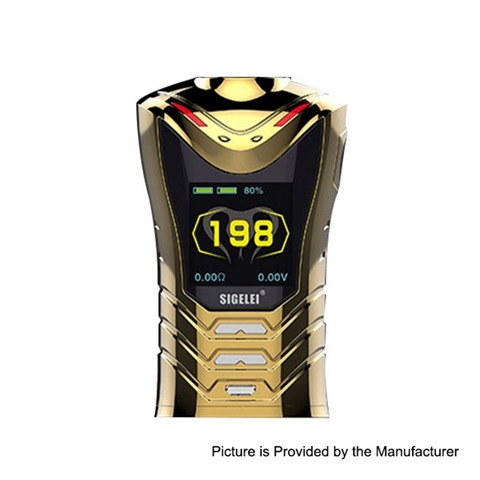 authentic sigelei sobra 198w tc vw variable wattage box mod gold 2 x 18650 eletroplating edition thumb - 【海外】「eXvape eXpromizer V3 Fire RTA」「Asmodus Lustro 200W Touch Screen TC MOD」「Asvape Zeta 22mm RTA」「Wismec HiFlask Pod System Vape Kit」など