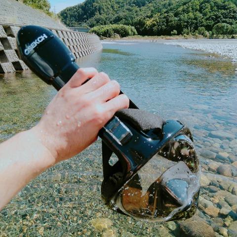 44883 thumb - 【レビュー】「シュノーケルマスク 2018年バージョン折り畳み式」口&鼻呼吸できて、Go Proカメラもマウントできるフルフェイス型の優れモノ!たまに行くならこんな川。プチダイビングにもおすすめ