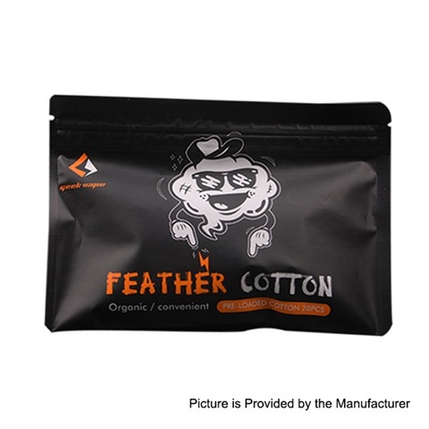 authentic geekvape feather cotton pre loaded organic cotton 20 pcs thumb - 【海外】「GeekVape Feather Cotton」「Phevanda MTL A2 RDTA」「Vaporesso Luxe 220W TC Kit」「HugsVape Chalice MTL RTA 24mm」