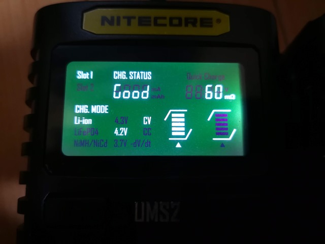 IMG 20181026 010853 thumb - 【レビュー】Nitecore UM2/UMS2/UM4/UMS4バッテリーチャージャー(充電器)レビュー。最大3A急速充電対応ナイトコアの普及価格帯コスパ充電器。リチウムマンガンバッテリー最強