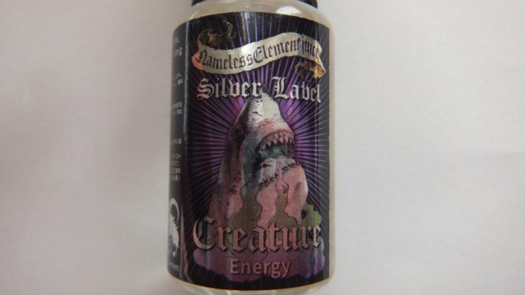DSCF1402 1024x576 - 【リキッドレビュー】Nameless Element(ネームレスエレメント) Silver Label Creature(クリーチャー)を吸ってみた! ジョーズっぽいプリントで威嚇してますが、味はどうかな!?
