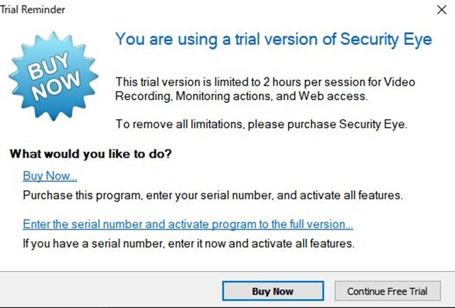Trial thumb - 【レビュー】Security Eye(セキュリティアイ)レビュー。WEBカメラ、ネットワークカメラの自動録画・管理が可能な便利ユーティリティ!ペットの留守監視や録画などに